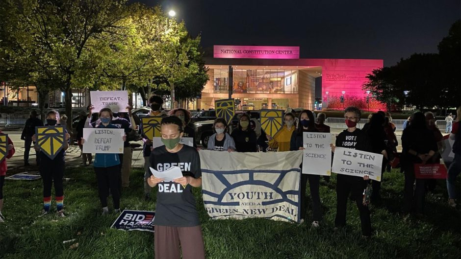 outside-biden's-town-hall,-middle-school-activists-demand-climate-action