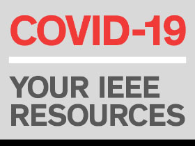 IEEE COVID-19 coverage logo, link to landing page