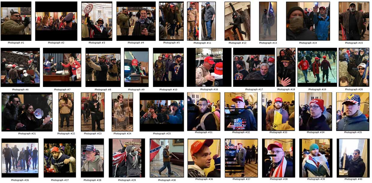 A collection of photographs of some of the people who attacked the United States Capitol Building on January 6, 2021, in Washington, D.C.