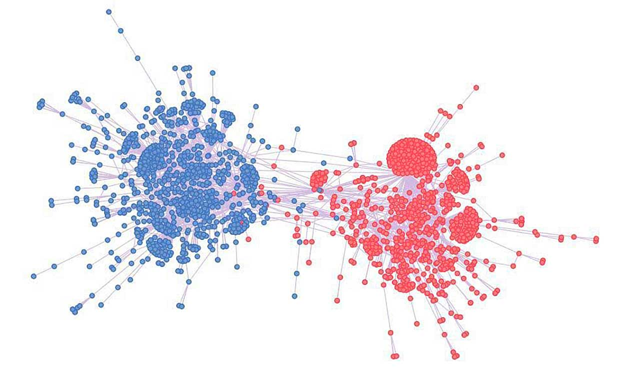 The structure of a polarized discussion in Twitter