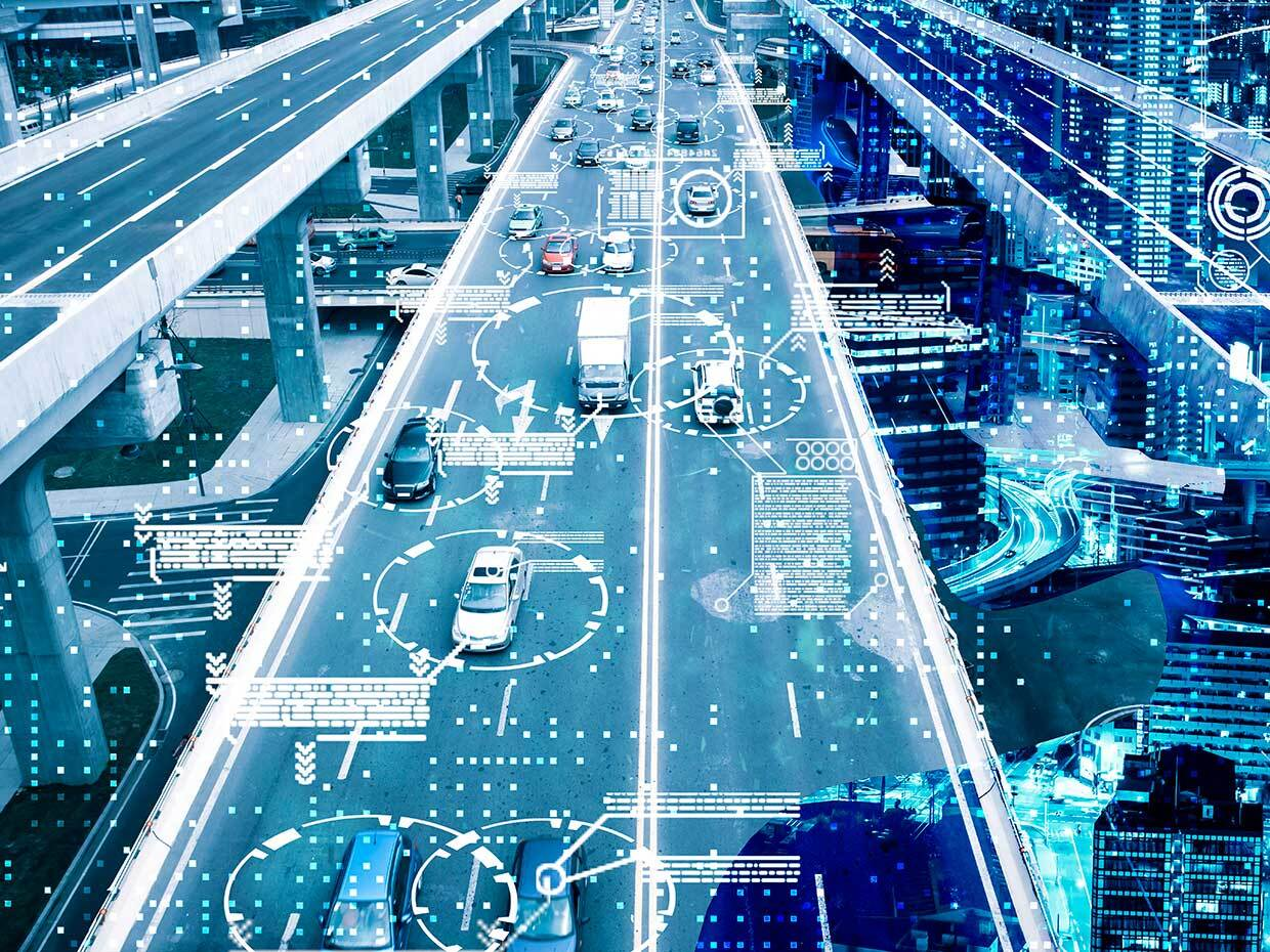 Cars on a road with data overlaying each car.