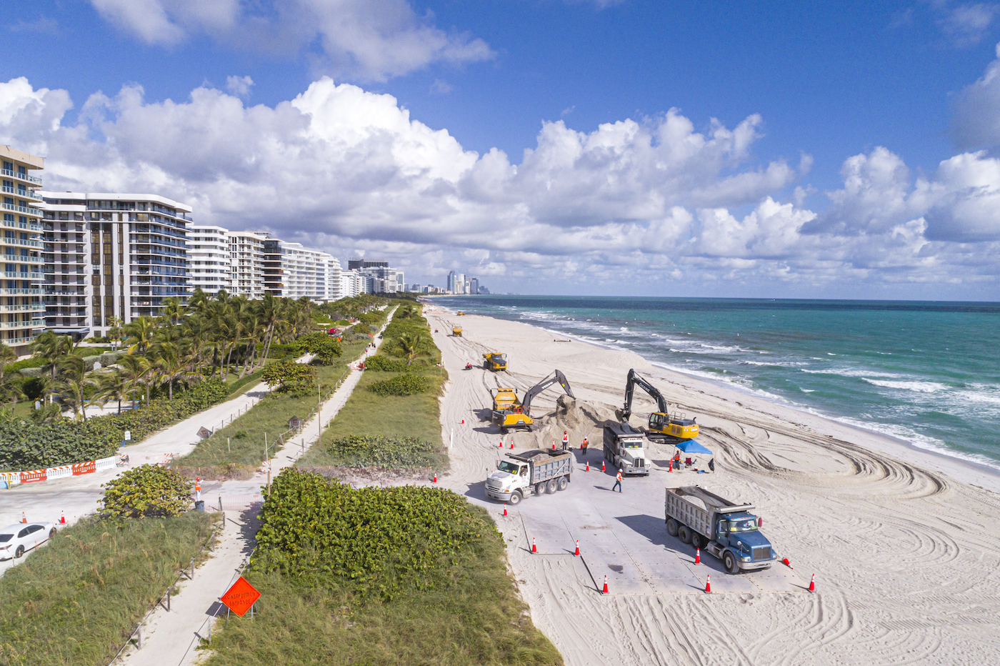 Bulldozers on a beach in Miami