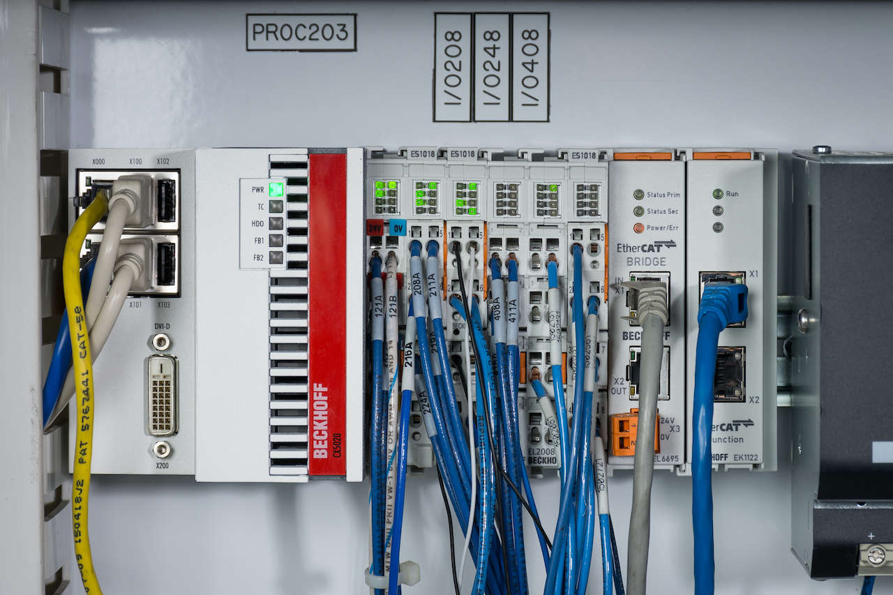 Using scalable Beckhoff Embedded PCs and EtherCAT I/O for the Honeywell Intelligrated Momentum Machine Control (MC4) controls platform provided performance advantages and cost savings. Courtesy: Beckhoff
