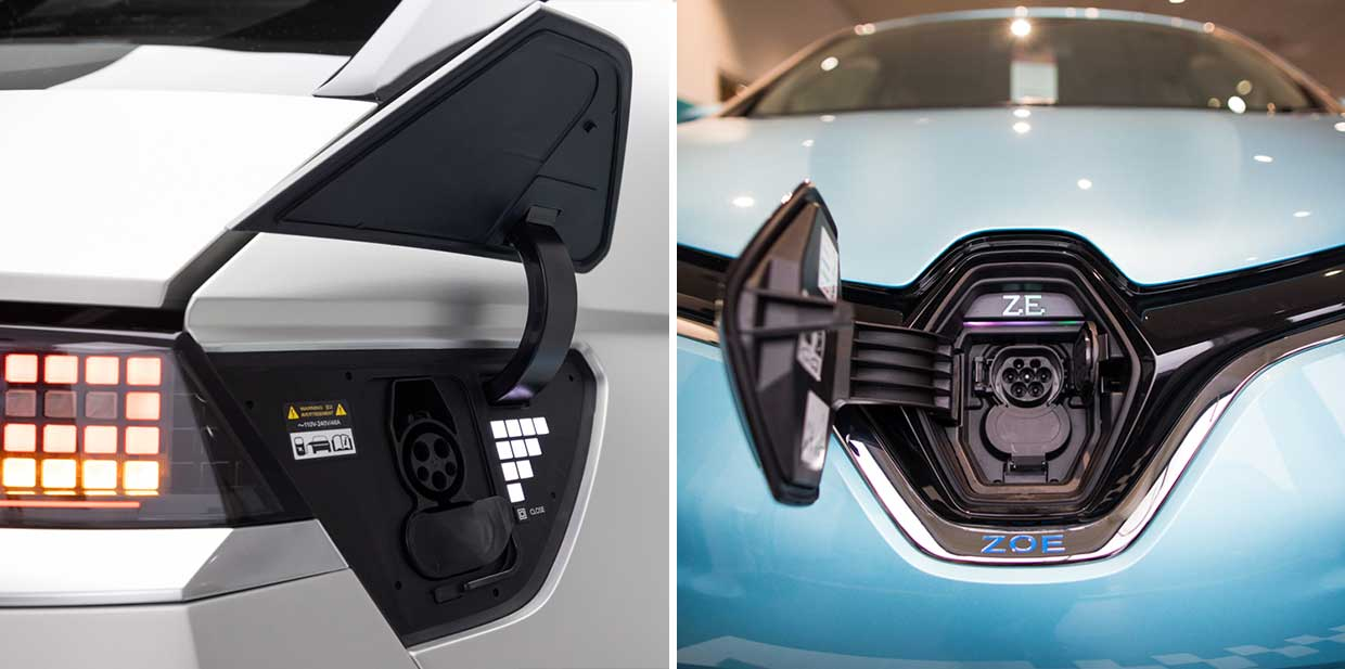 Photos of charge ports on two different cars.