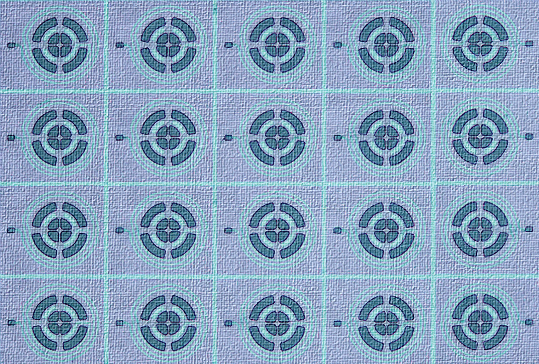 Closeup of mechanical resonators.