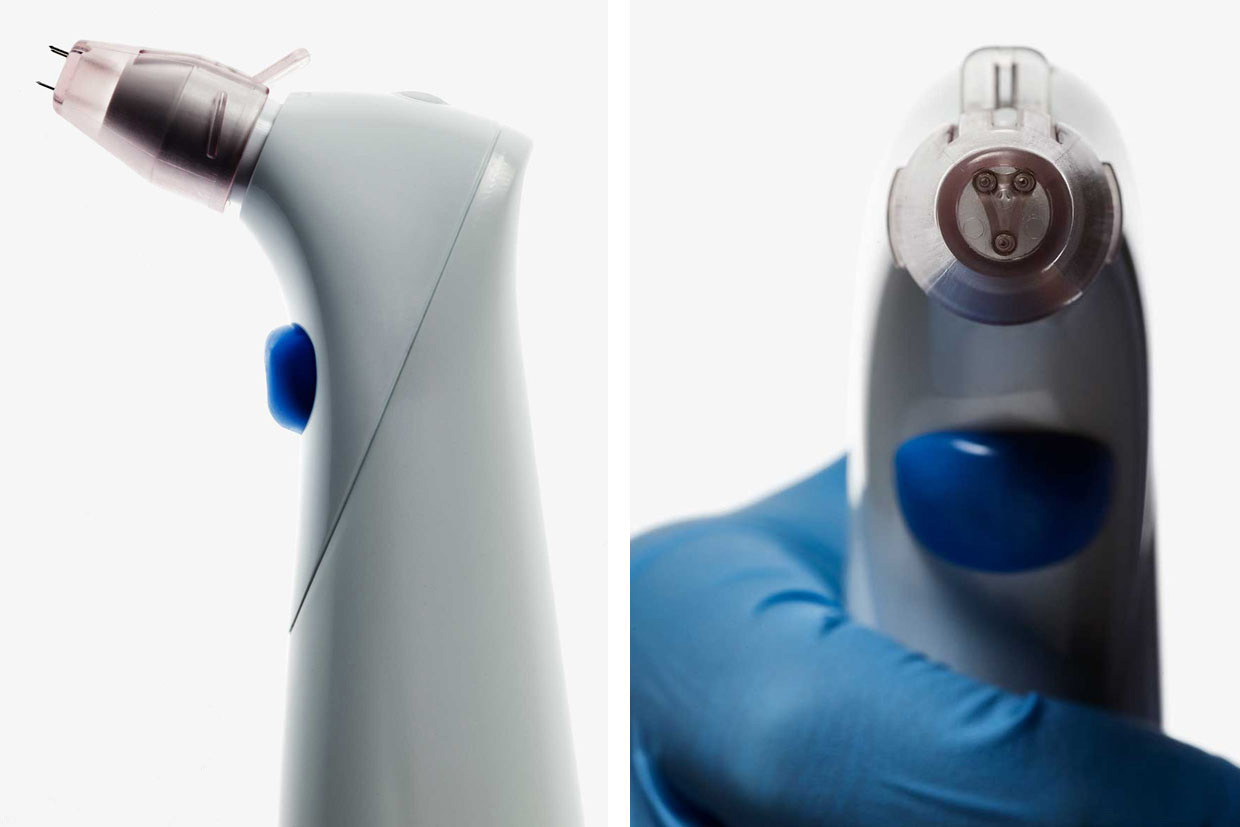 Image of the vaccine device from the side and front.