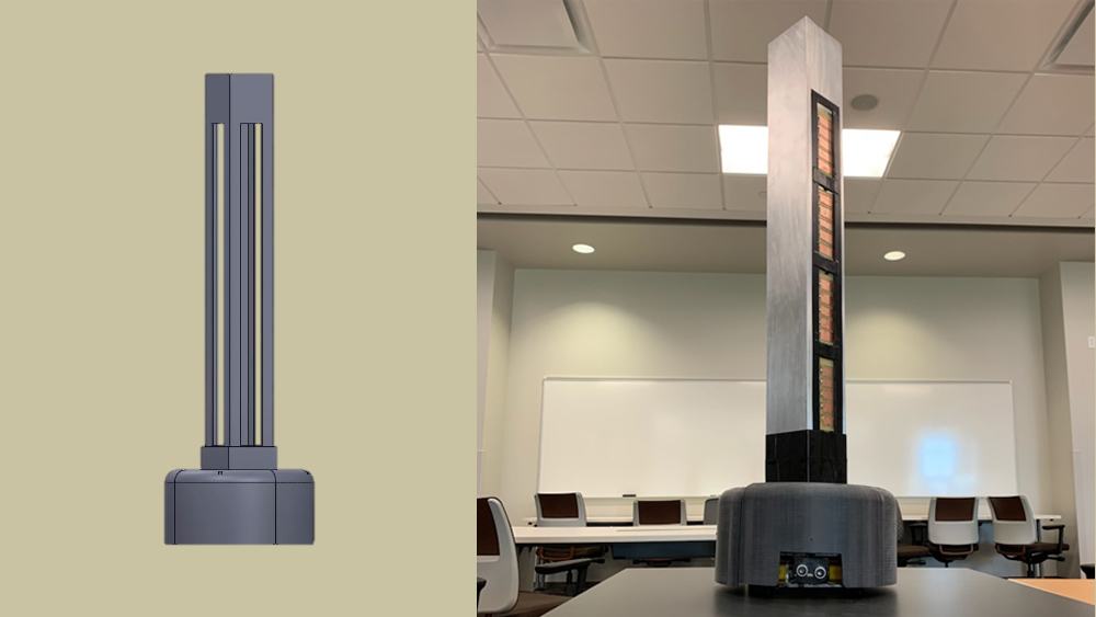 A demonstration of how a prototype goes from design to prototype. The left image is a SOLIDWORKS representation of the team's UV robot and the right image is the final prototype. Courtesy: Mashal Mithani, Texas A&M University