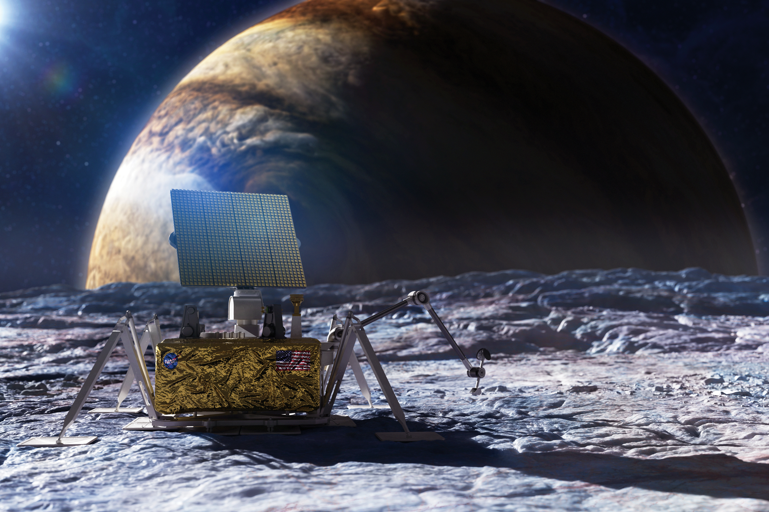 Image of an antenna on a moon with Jupiter in the background.