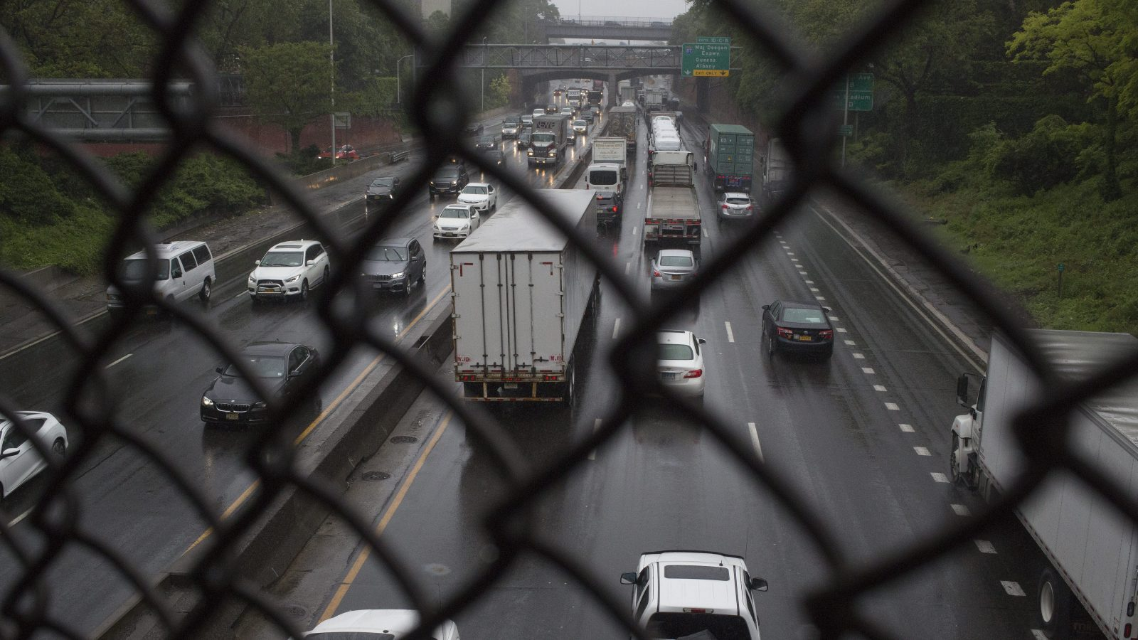 Trucks and cars driving on the Cross Bronx Expressway in the Bronx, New York
